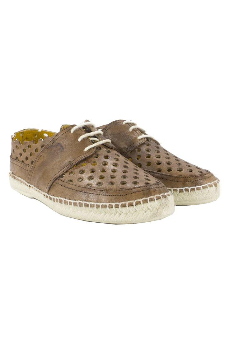 LAGOA WORLD  SCARPA UOMO MODELLO BARCA ESPADRILLAS TRAFORATA IN PELLE Marrone | brown | fashion | man | shoes