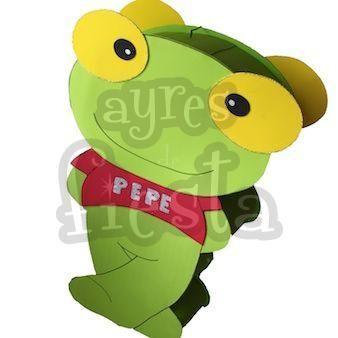 Piñata Sapo Pepe con tambor realizada en cartón corrugado y goma eva. Medidas: 60 x 30cms Encontrala en: http://www.ayresdefiesta.com.ar/productos.php?idc=15