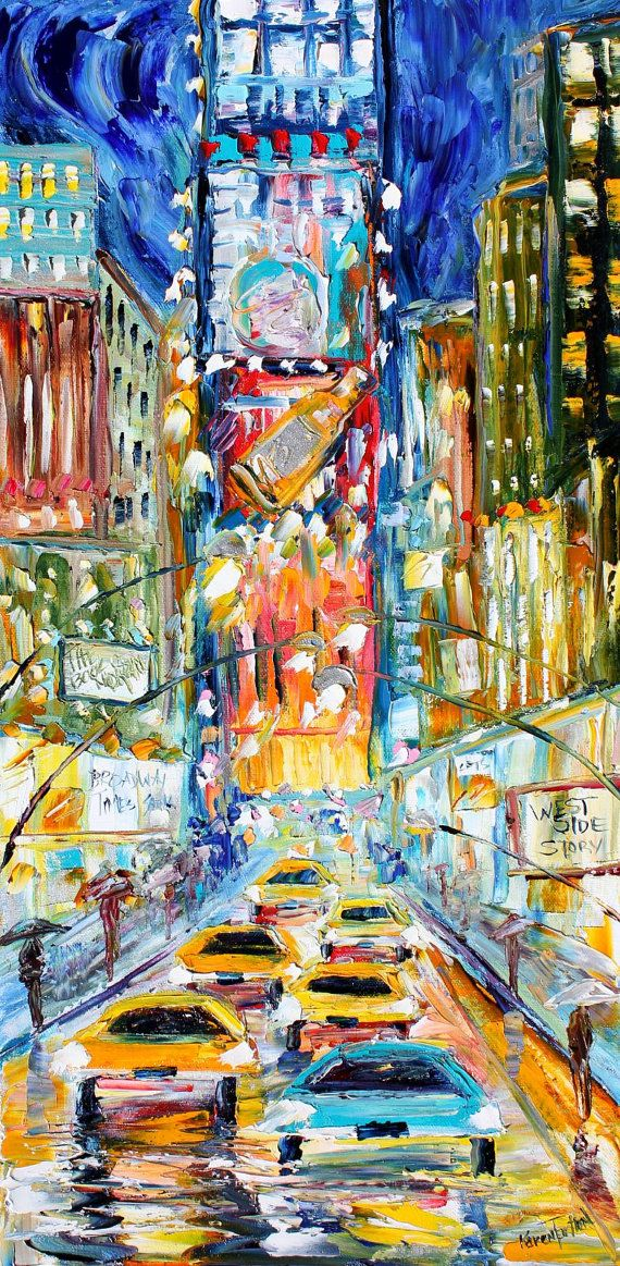 ☆ Original oil painting - Times Square New York by Karensfineart ☆