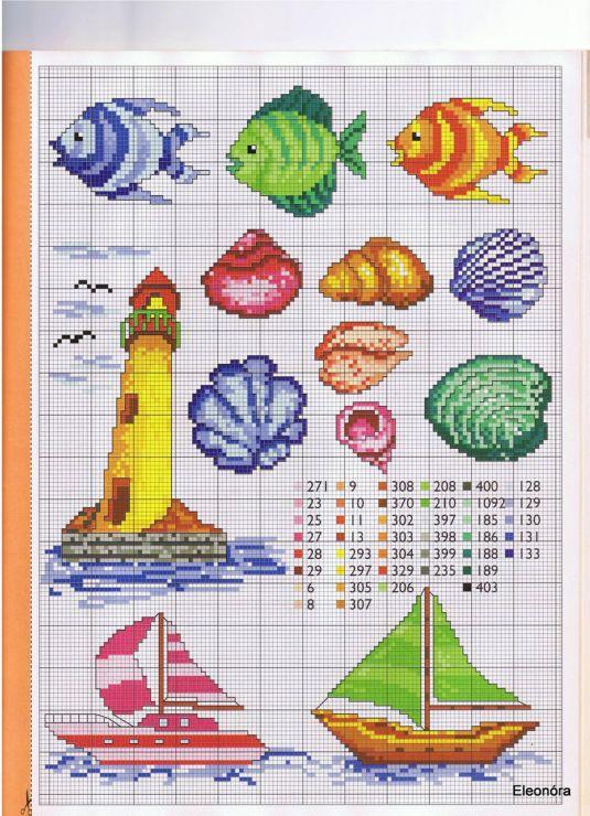 Poissons, coquillages, phares et bateaux en broderie