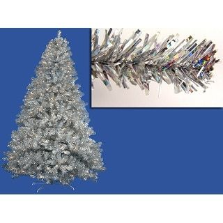 7' Pre-Lit Sparkling Silver Full Artificial Tinsel Christmas Tree - Clear Lights | Overstock.com Shopping - The Best Deals on Artificial Christmas Trees