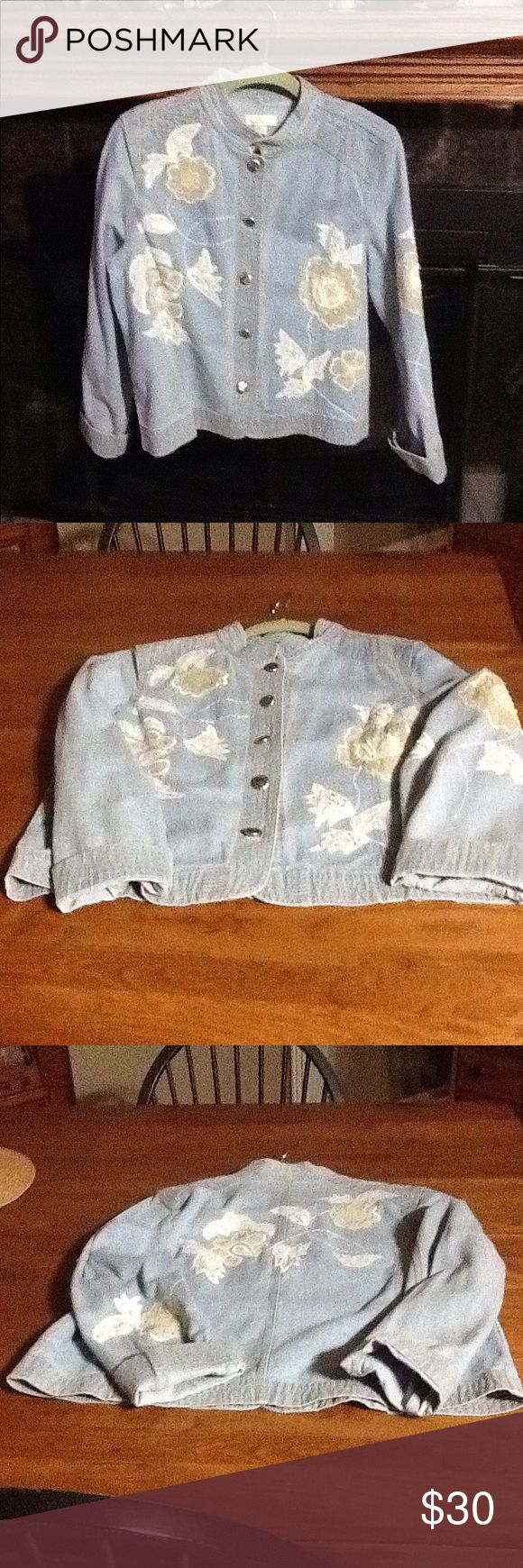 Christopher Banks Ladies Embroider Denim Jacket Christopher Banks Floral embroidered with small sequins on light blue denim jacket. Jacket is in excellent condition. Buttons are decorate silver . Christopher & Banks Jackets & Coats Jean Jackets
