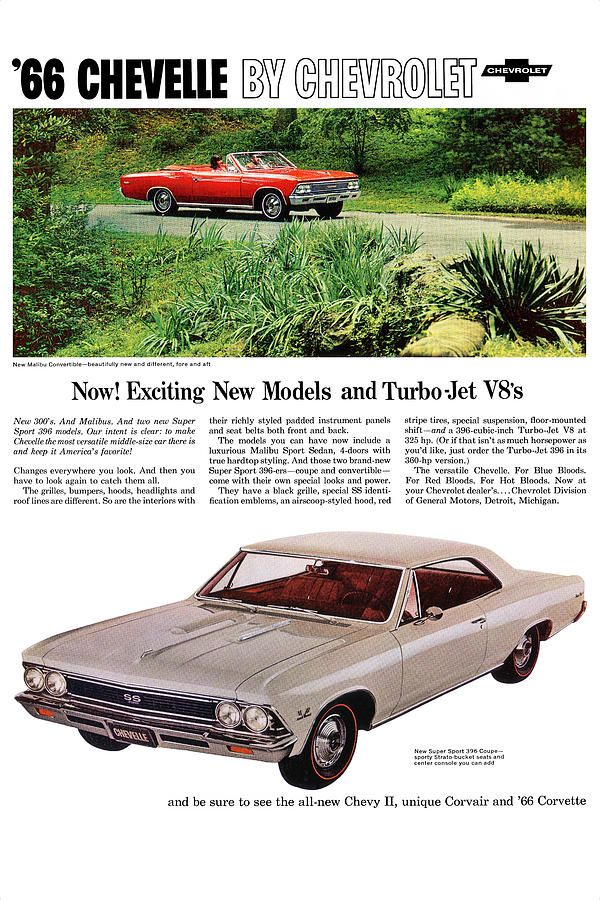 1966 Chevrolet Chevelle Malibu Convertible and Malibu Super Sport 396 Coupe