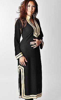 Designer Black Moroccan Kaftan-Perfect as loungewear,resortwear,spa robe, great