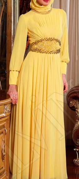#Hijab Yellow evening dress.