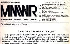 "The Centers for Disease Control and Prevention released an article on June 5, 1981 titled, "" Pneumocystis Pneumonia-Los Angeles"". It mainly described five men whom were healthy from the ages of 29-36. They were treated at three different hospitals for a strange, new type of pneumonia caused by the Pneumocystis carinii bacteria. A few months after becoming ill, two men died."