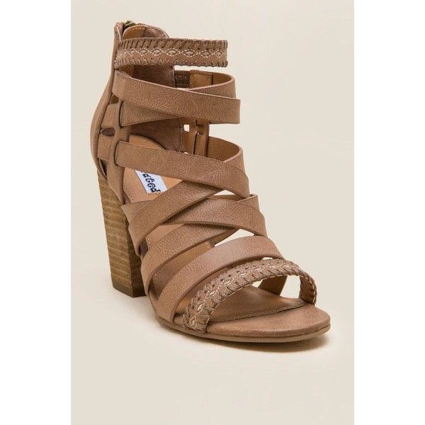 Not Rated Feelin Strappy Woven Heel - Tan ($58) ❤ liked on Polyvore featuring shoes, pumps, tan, thick heel shoes, caged shoes, caged pumps, wide heel shoes and not rated shoes