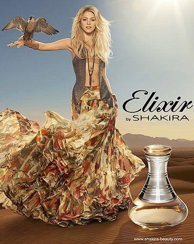 Elixir by Shakira - Top notas de  flor de laranjeira e pimenta do reino com notas de coração de peônia, frésia e pêssego em base de âmbar, musk, styrax, açúcar mascavo e extrato de cedro branco.