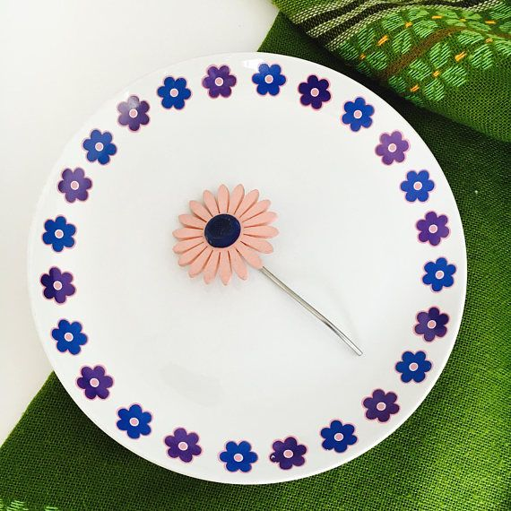 Vintage Arabia Finland blue and purple flower ceramic plate