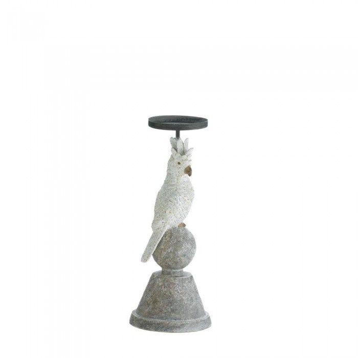 slender cockatoo candleholder / polyresin/iron #Tropical