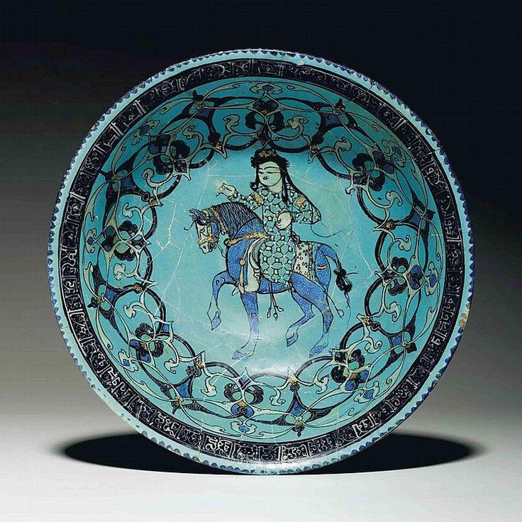 A MINA'I TURQUOISE-GLAZED POTTERY BOWL CENTRAL IRAN, CIRCA 1200