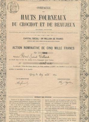 Compagnie des Hauts Fourneaux du Crochot et de Beaujeux, Gray, 1874