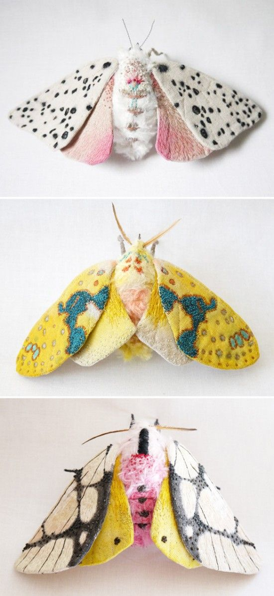 These embroidered moths are so stinkin' cute! I've always loved how fuzzy and soft real ones look.