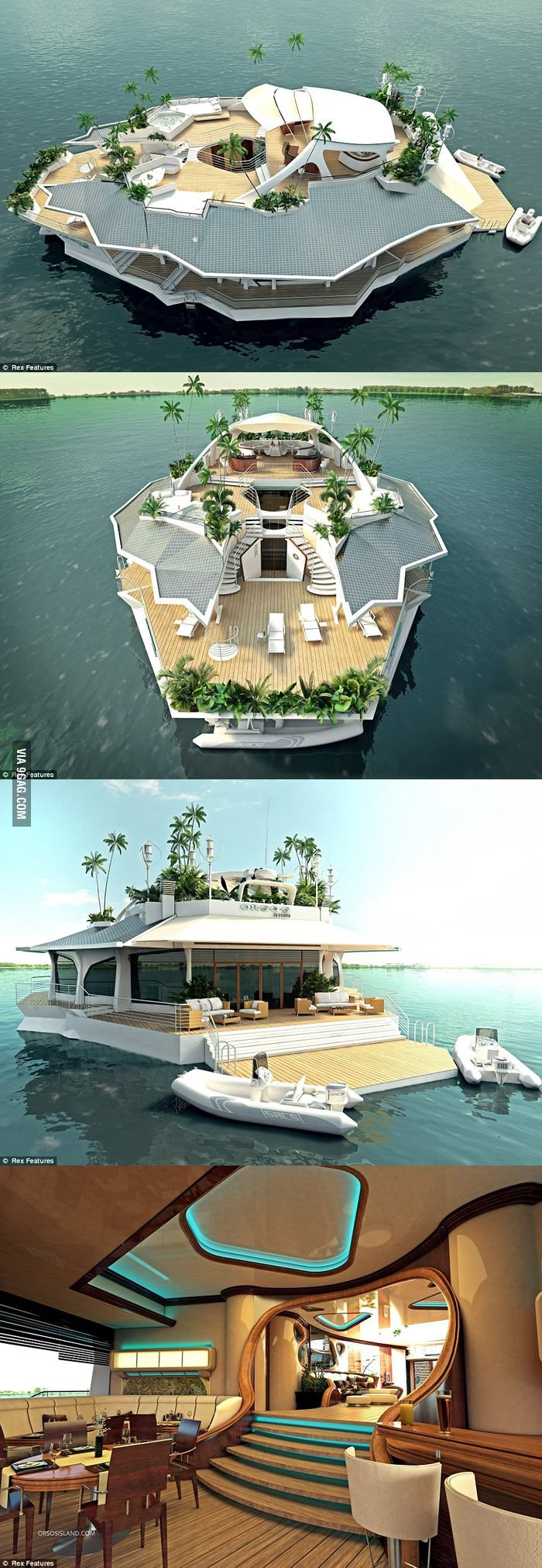 Floating Island Boat, the perfect get away in case a zombie apocalypse or if that the pure thing comes true.