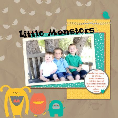My Little Monsters page | designed by Jeanna Bohanon using MDS by Stampin' Up!