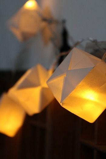 電飾につかうLED電球を、風船の膨らませる穴から中に入れるだけで、素敵なガーランドライトの完成です。紙ごしの柔らかな光が幻想的。