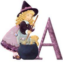 Alfabeto animado de niña brujita con caldero.