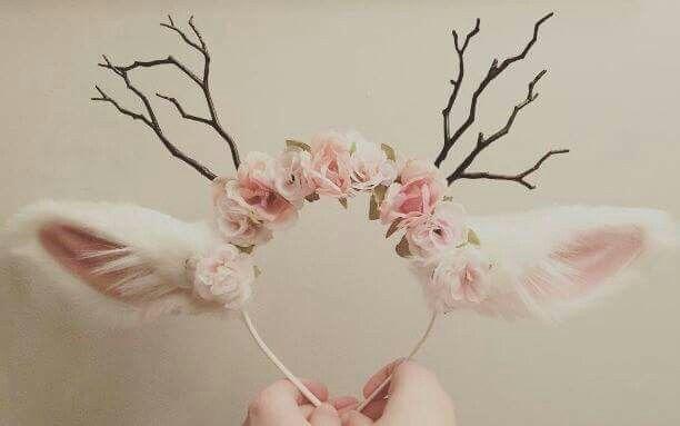 Deer ears // branch antlers headband // boho