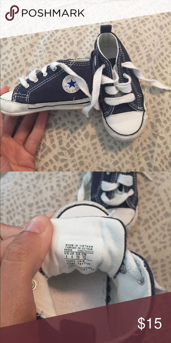 Two pairs! Converse all star baby shoes size 4 I have two pairs of these same exact shoes! In excellent condition! Show some sign of wear but overall have so much life in them. Size 4. Navy blue Converse Shoes Baby & Walker