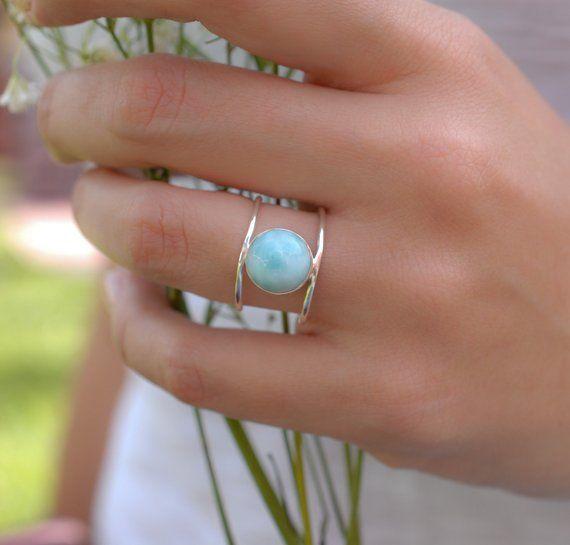Larimar Ring Sterling Silver Ring Statement Ring Gemstone Ring Blue Stone Bridal Ring Wedding Ring Organic Ring Bjr104 With Images Turquoise Gold Ring Silver Rings Diamond Wedding Bands