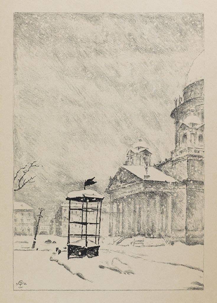"DOBUZHINSKY Mstislav – St.Isaac's [Cathedral] in Snowstorm; From the album ""St. Petersburg in 1921"""