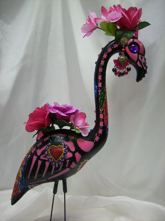day of the dead skeleton flamingo tiara, quinceanera dia de los muertos sugar skull flamingo tiara, plastic flamingo via Etsy