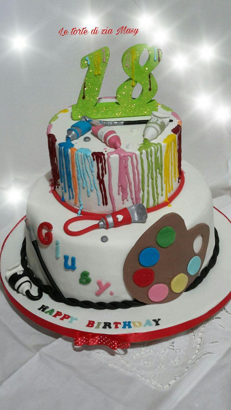 colori pittura su una torta