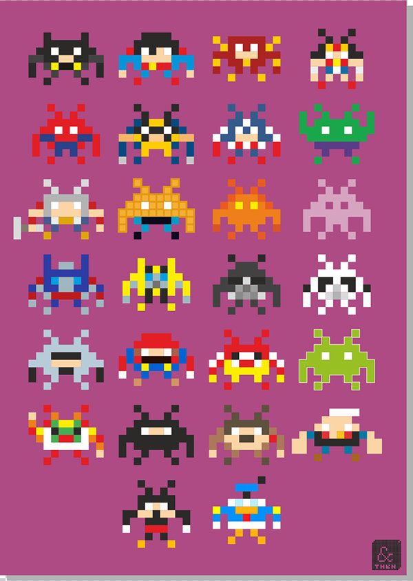 If Pop-Culture Characters Were 8-Bit 'Space Invaders'… - DesignTAXI.com You could make these in those perl beads since they are so pixelated