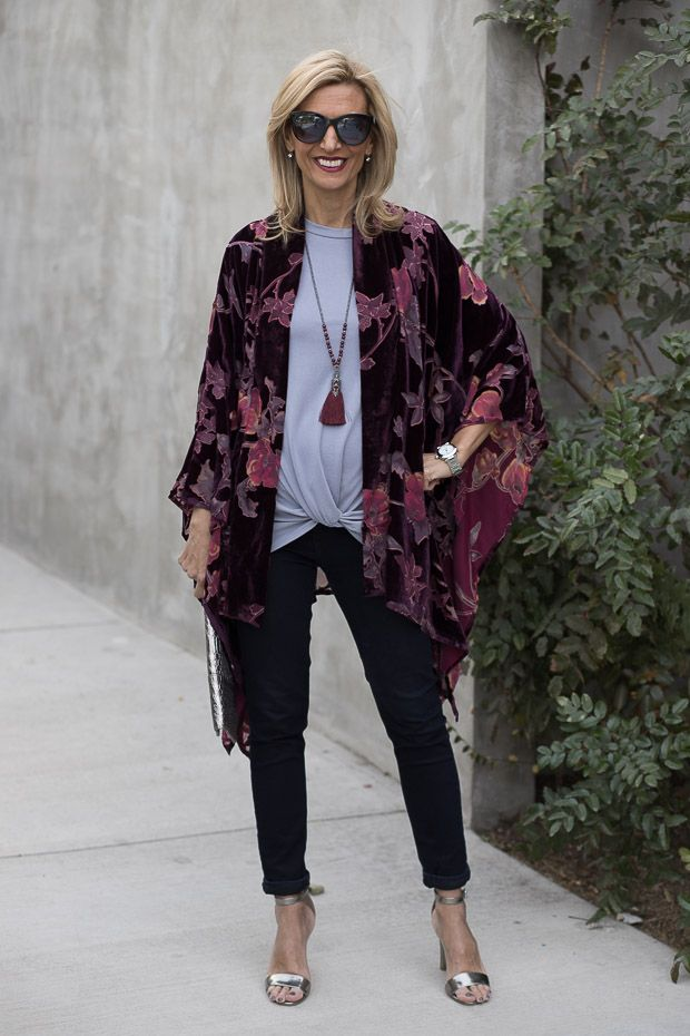 On my blog this week our plum velvet floral burnout kimono, steel gray knot front top and steel gray and burgundy necklace all available in our shop www.jacketsociety.com