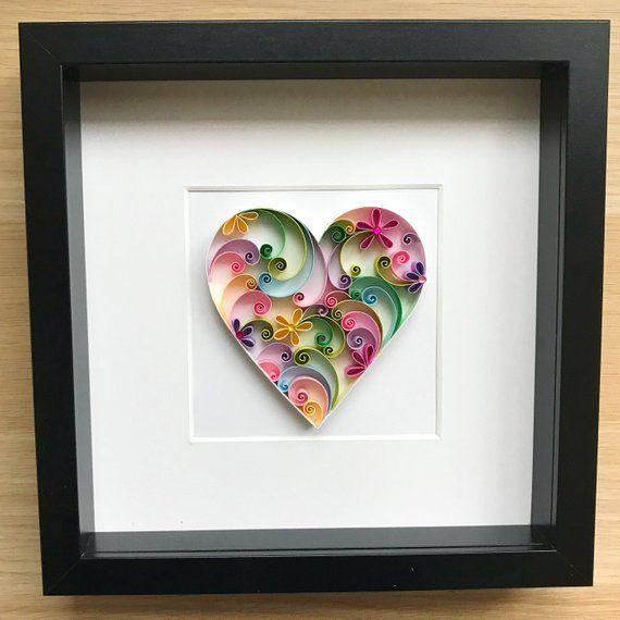 Quilling Love Art 3d Paper Heart Wedding Anniversary Handmade