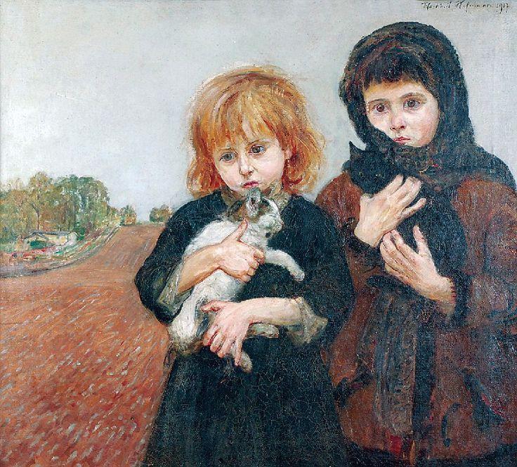 Wlastimil HOFMAN (1881-1970)  Dziewczynki z kotami, 1917 olej, płótno, 70,5 x 78 cm, sygn. p. g.: Vlastimil Hofmann 1917