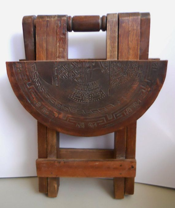 Vintage Wood Mexican Table Aztec Leather Design On Top