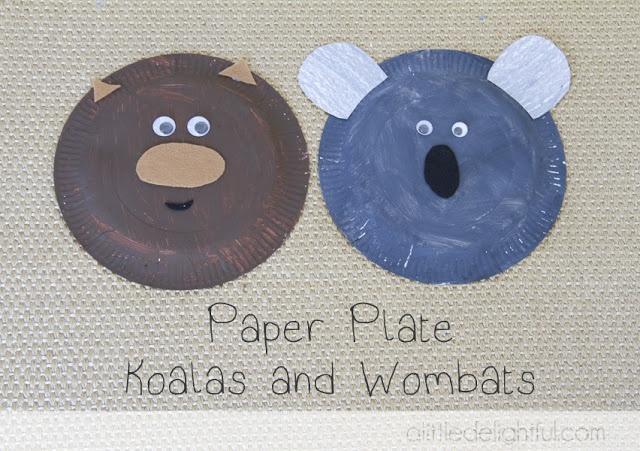 Paper plate wombat and koala craft: Australia Day