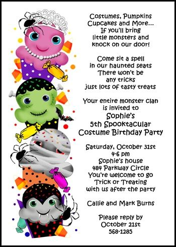 cupcakes costumes kids halloween party invitations save time with same day printing and shipping of - Kids Halloween Party Invite
