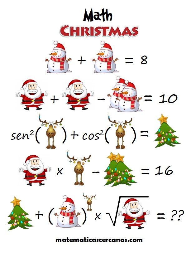 Math Christmas Christmas Math Math Maths Puzzles