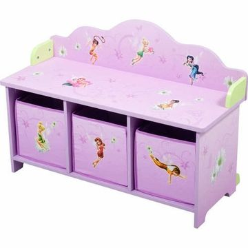 Elegant Disney TinkerBell Fairies Toy Bench With 3 Bins