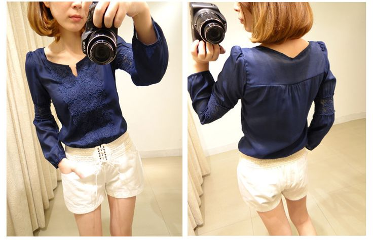 Blue blouse with lace inserts