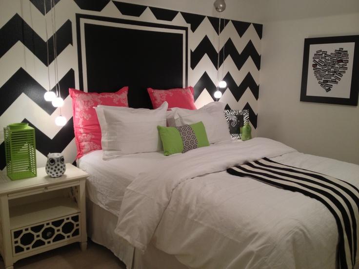 Bold and Happy! #girls #room #chevrons #black #white
