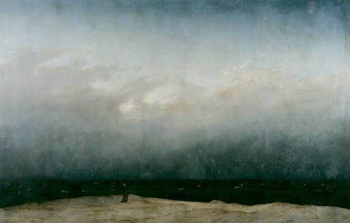 Friedrich worked for two years on this, ultimately his most famous work.  The composition is divided horizontally into land, sea, and sky with a  clear simpl...