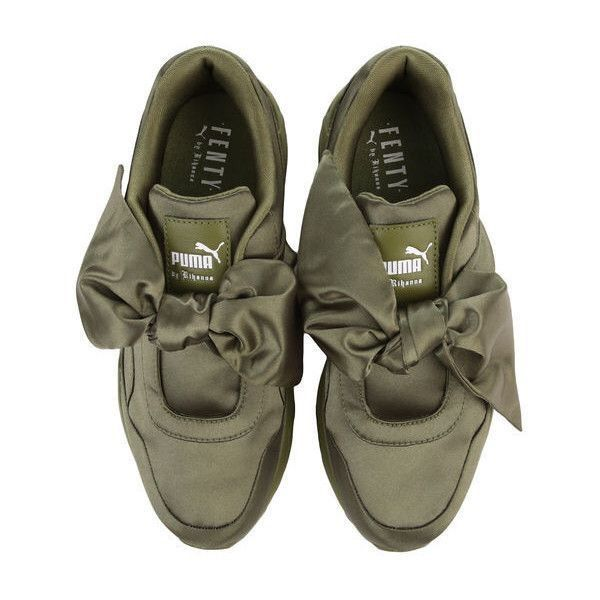 Army Green Fenty Pumas | Bow sneakers