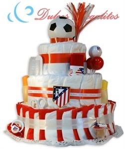 Tarta de pañales Futbol Atlético de Madrid  Atleti!! Atleti!! Altético de Madrid!!! Para la afición más auténtica y colchonera!!