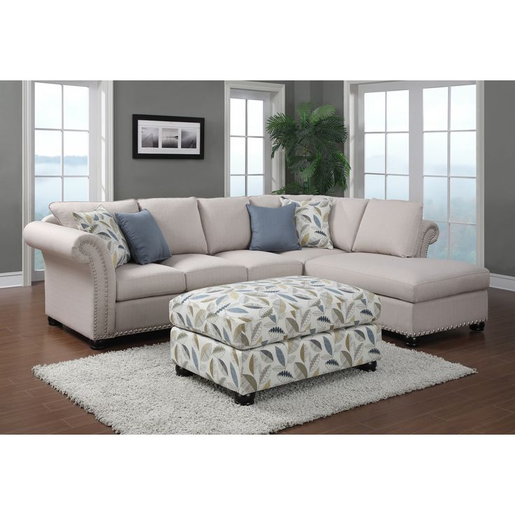 Emerald Paige 2 Piece Beige Sectional And Ottoman   Overstock™ Shopping    Big Discounts On Sectional Sofas | Family Room | Pinterest | Beige Sectional,  ...