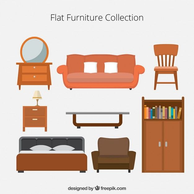 Flat Furniture Icons Collection Free Vector