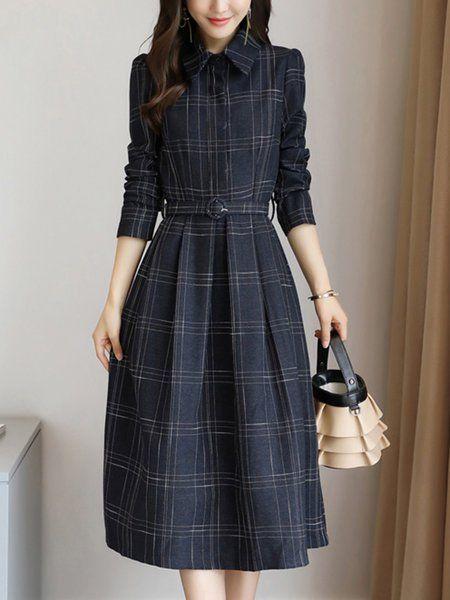 Shop Midi Dresses - Navy Blue Shirt Collar Acetate Long Sleeve A-line Midi Dress online. Discover unique designers fashion at StyleWe.com.