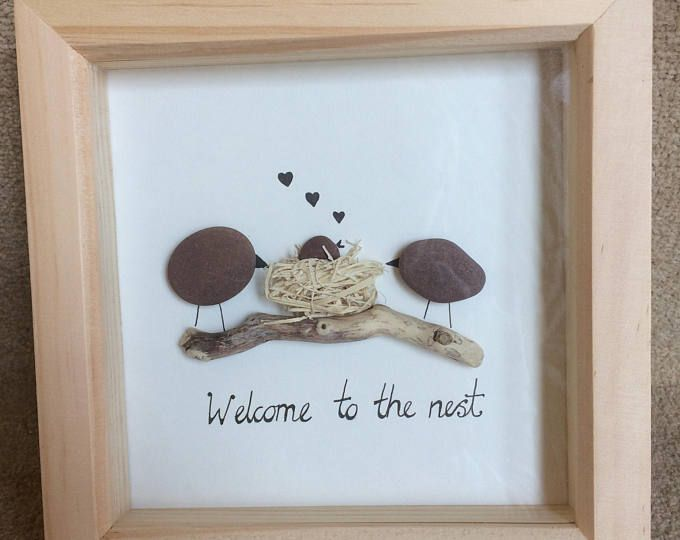 Pebble art - New baby - Welcome to the nest