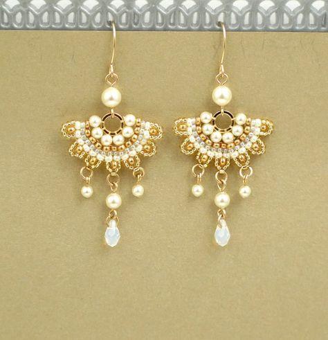 Pendientes novia Boho araña pendientes novia, pendientes de perlas, pendientes de perlas, pendientes de boda, bodas pendientes de perlas de oro