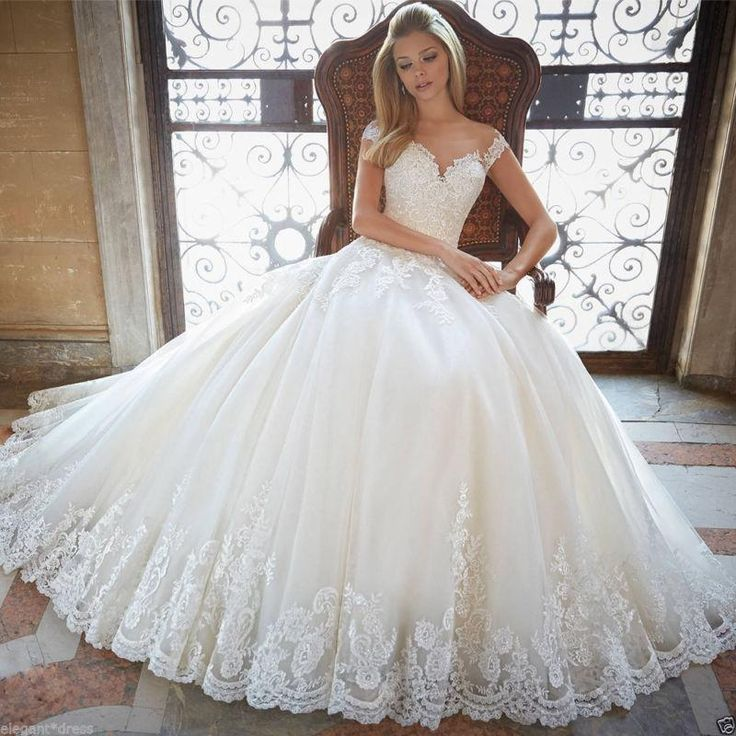 2017 New White/Ivory Appliques Wedding Dress Sexy Sheer Bridal Ball Gown Custom