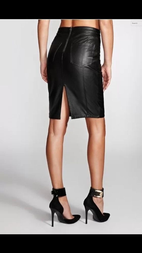 GUESS Women's Faux-Leather Skirt with Back Pockets SIZE 6 #GUESS ...