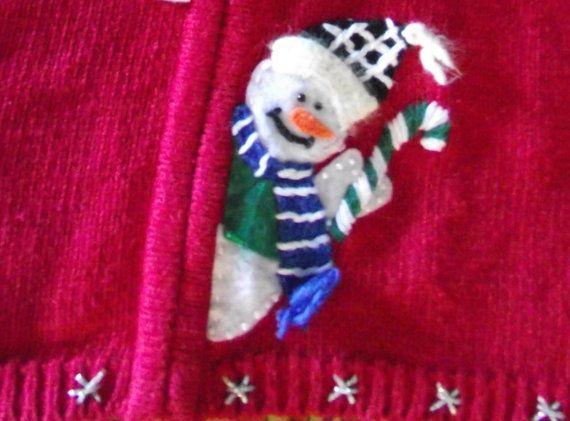 Christmas Cardigan w Snowmen HoHoHo by MaryLuVintage on Etsy, $12.00