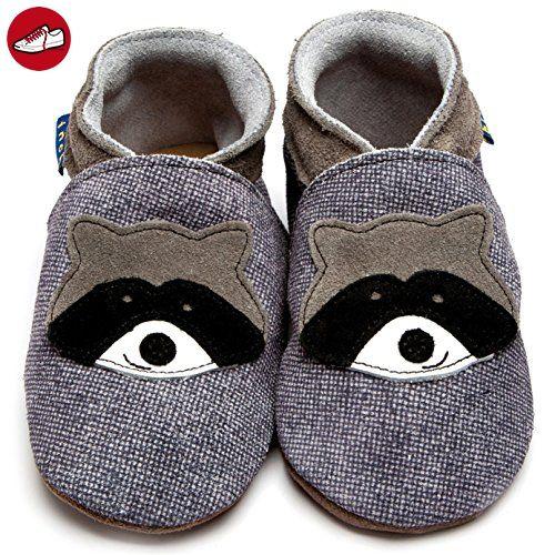 Inch Blue Mädchen/Jungen Schuhe für den Kinderwagen aus luxuriösem Leder - Weiche Sohle - Waschbär Dunkles Jeansblau - Kinder sneaker und lauflernschuhe (*Partner-Link)